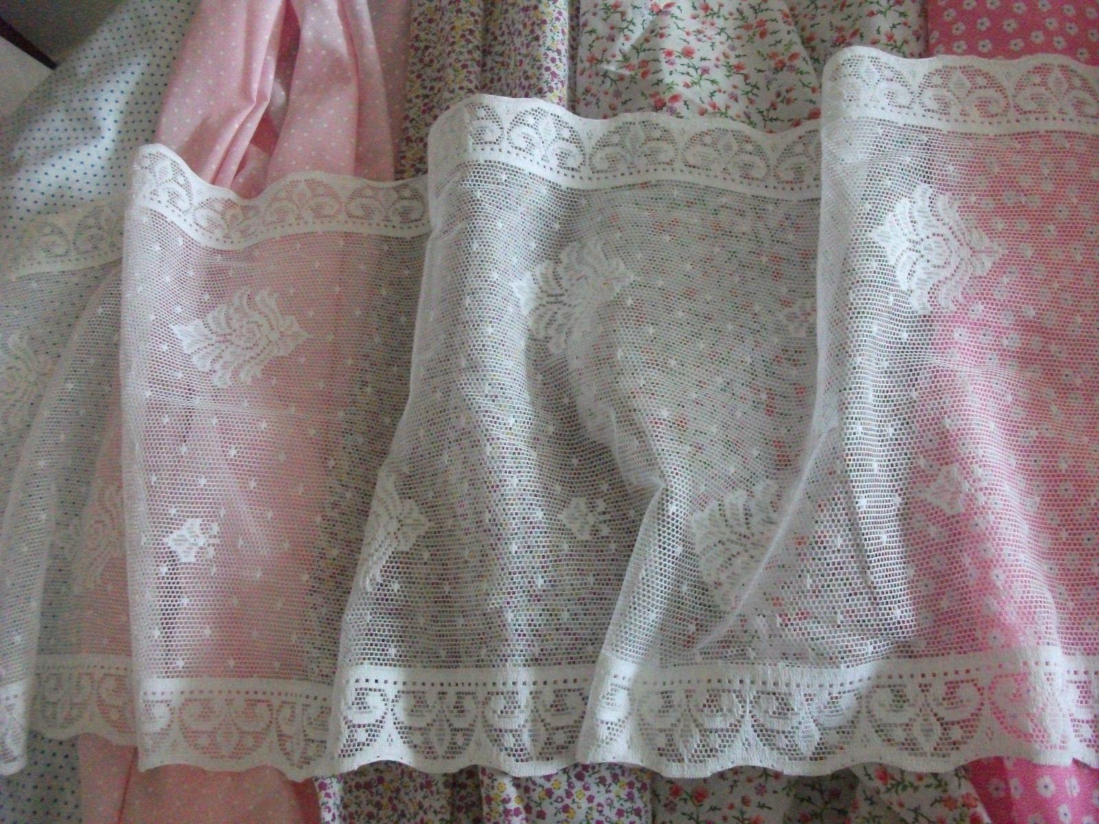 Vintage Cotton White Nottingham Lace Curtain Tablerunner